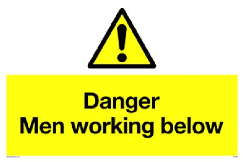 "Viking Signs WC5339-A2L-3D""Danger Men Working Below"" Sign, 3 mm Double Sided Rigid PVC, 400 mm H x 600 mm W from Viking Signs"