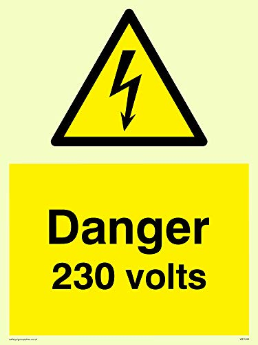 "Viking Signs WE1456-A5P-PV""Danger 230 Volts"" Sign, Photoluminescent Sticker, 200 mm H x 150 mm W from Viking Signs"