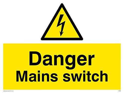 "Viking Signs WE68-A3L-AC""Danger Mains Switch"" Sign, Aluminium Composite, 300 mm H x 400 mm W from Viking Signs"