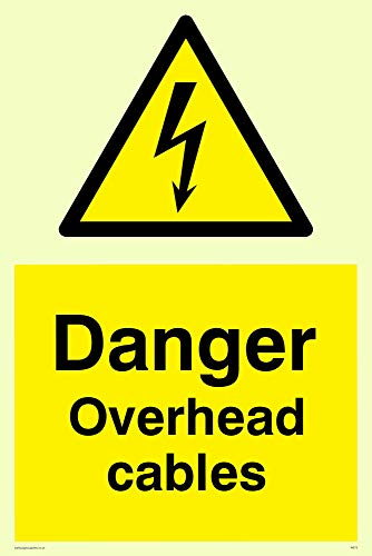 "Viking Signs WE73-A4P-P""Danger Overhead Cables"" Sign, Semi-rigid Photoluminescent Plastic, 300 mm H x 200 mm W from Viking Signs"