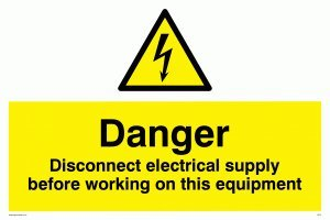 "Viking Signs WE74-A1L-AC""Danger Disconnect Electrical Supply Before Working On This Equipment"" Sign, Aluminium Composite, 600 mm H x 800 mm W from Viking Signs"