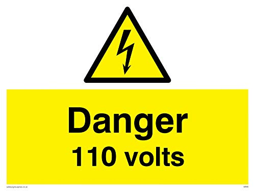 "Viking Signs WE80-A3L-3M""Danger 110 Volts"" Sign, 3 mm Rigid Plastic, 300 mm H x 400 mm W from Viking Signs"