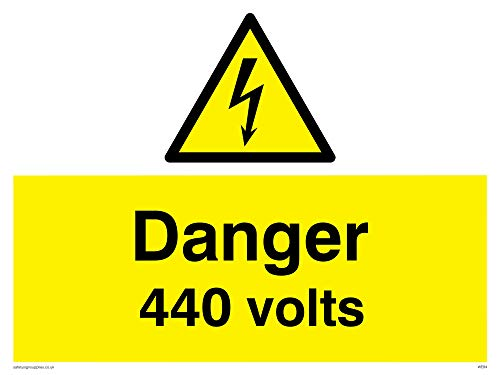 "Viking Signs WE84-A3L-3D""Danger 440 Volts"" Sign, 3 mm Double Sided Rigid PVC, 300 mm H x 400 mm W from Viking Signs"