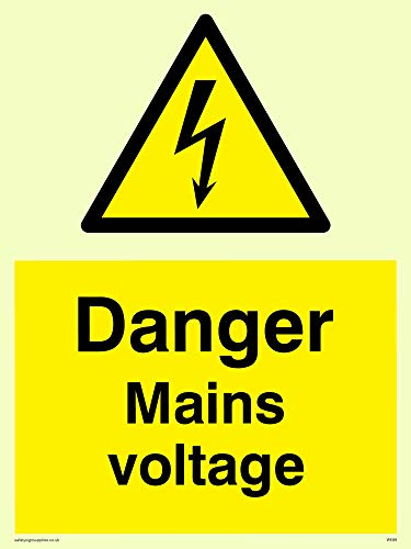 "Viking Signs WE89-A5P-PV""Danger Mains Voltage"" Sign, Photoluminescent Sticker, 200 mm H x 150 mm W from Viking Signs"
