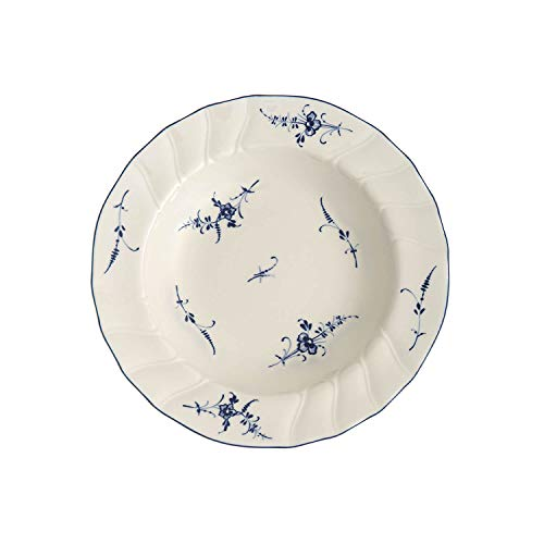 Villeroy & Boch Old Lu x Embourg Soup Plate, 23 cm, Premium Porcelain, White/Blue from Villeroy & Boch