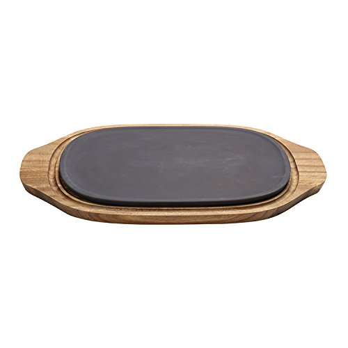 Villeroy & Boch BBQ Passion Cooling/Heating Plate, 2 Pieces, Premium Porcelain/Acacia Wood, Brown/Black, 31.5 x 21 x 4 cm from Villeroy & Boch