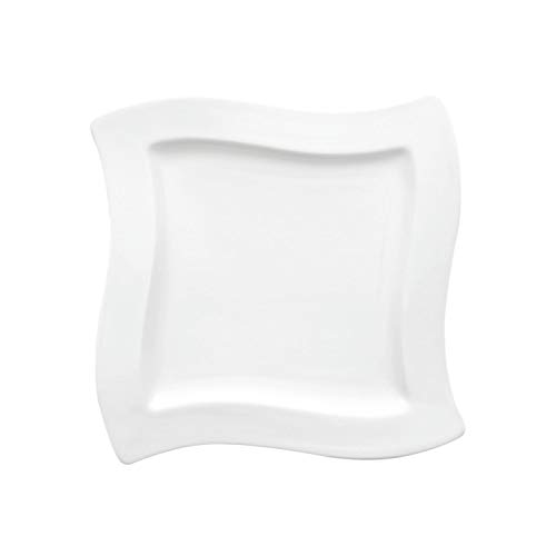 Villeroy & Boch 1025252647 New Wave Square Breakfast Plate, 24 x 24 cm, Premium Porcelain, White from Villeroy & Boch