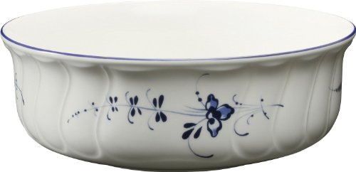 Villeroy & Boch Old Lu x Embourg Round Bowl, 21 cm, Premium Porcelain, White/Blue from Villeroy & Boch