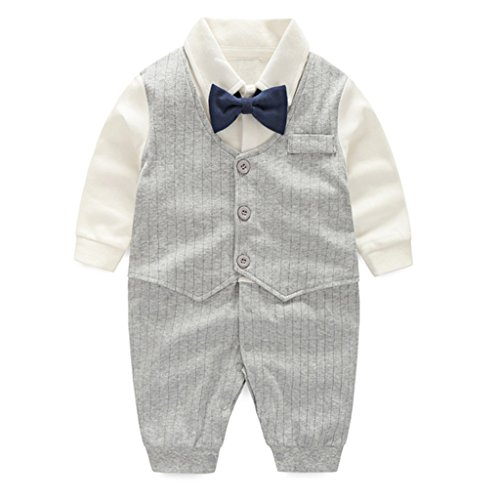 Baby Boys Romper Suits One Piece Outfits Bodysuits Baptism Wedding Tuxedo Jumpsuit (Age 0-2 Years) Vine from Vine