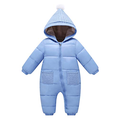 Baby Romper Snowsuit Winter Hoodie Jumpsuit Thicken Onesies All-in-One Zipper Outwear - Blue, 0-3 Months from Vine