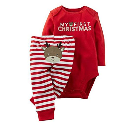 Baby Romper Suit My 1st Christmas Bodysuit with Pants Santa Claus Outfits from Vine
