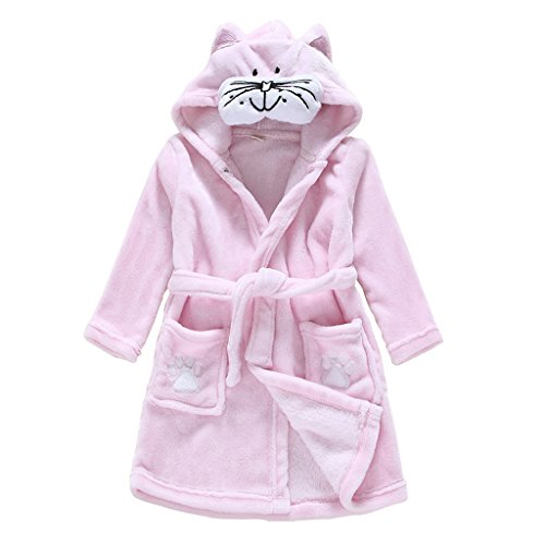 Child Bathrobe Hooded Pajamas 3D Cartoon Animal Towel For Boys Girls Sleepwear Vine cat 130(4-5 years) from Vine