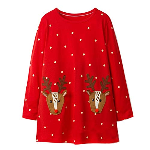 Kids Christmas Outfits Girls Dresses Santa Reindeer Tops Long Sleeve Party Costume from Vine
