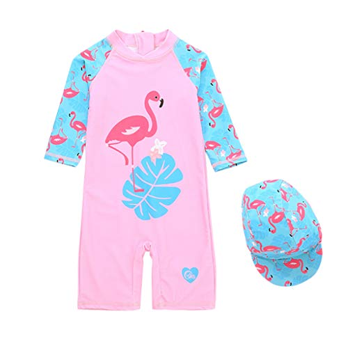 Kids Swimsuits Girls All-in-One Swimwear Sun Protection UPF 50+ UV Sunsuit with Swimming Cap from Vine