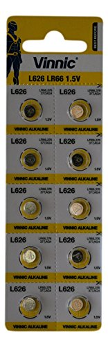 Vinnic AG4 L626 SR626 377 37 Alkaline Battery (10 Pack) used in Watches, Calculators, Toys, Lasers, Clocks, Thermometers, and many other electronic items. from Vinnic