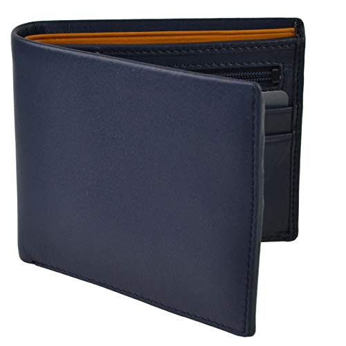 Mens LEATHER Stylish Bifold WALLET by Visconti; Parma Collection GIFT BOX Paisley (Blue Mustard) from Visconti