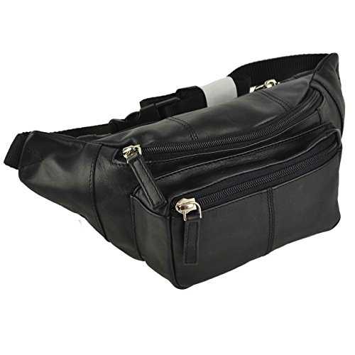 Top Quality VISCONTI LEATHER Bum Bag Waist Fanny Pack in 4 Colours Soft Stylish (Black) from Visconti