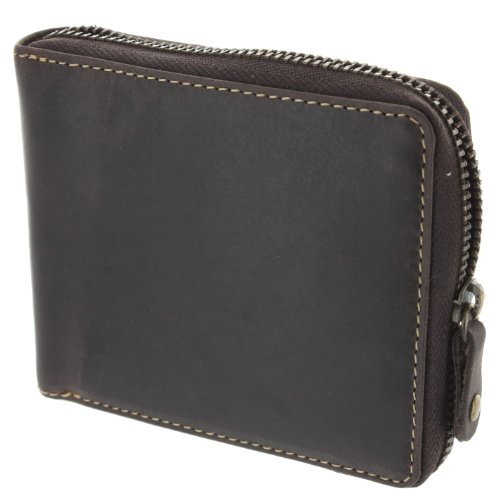 Visconti Zip Round Oiled Leather BULLET Wallet 702 Oil Brown from Visconti