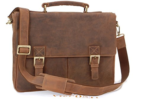 Visconti Hunter Leather Briefcase Messenger Bag A4 - 18716 Berlin - Oil Tan from Visconti