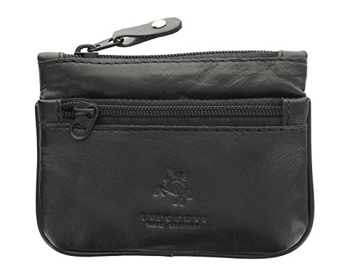 Visconti Leather Zip Top Coin Purse/Keycase CP3 Black from Visconti