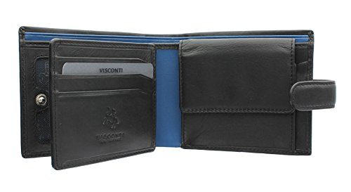 Visconti Parma Collection LEONARDO Two Tone Gents Leather Bi-Fold Wallet PM102 Black/ Cobalt from Visconti