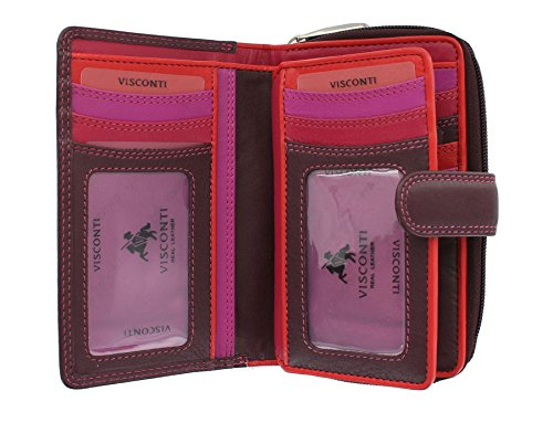 Visconti Soft Leather Rio Ladies Purse Style R13 Plum Multi from Visconti