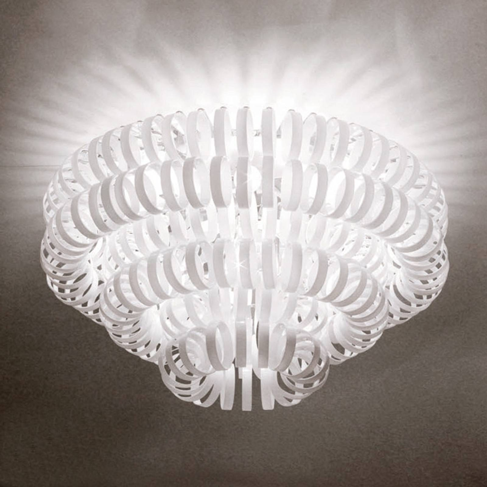 Glass ceiling light ECOS, white from Vistosi