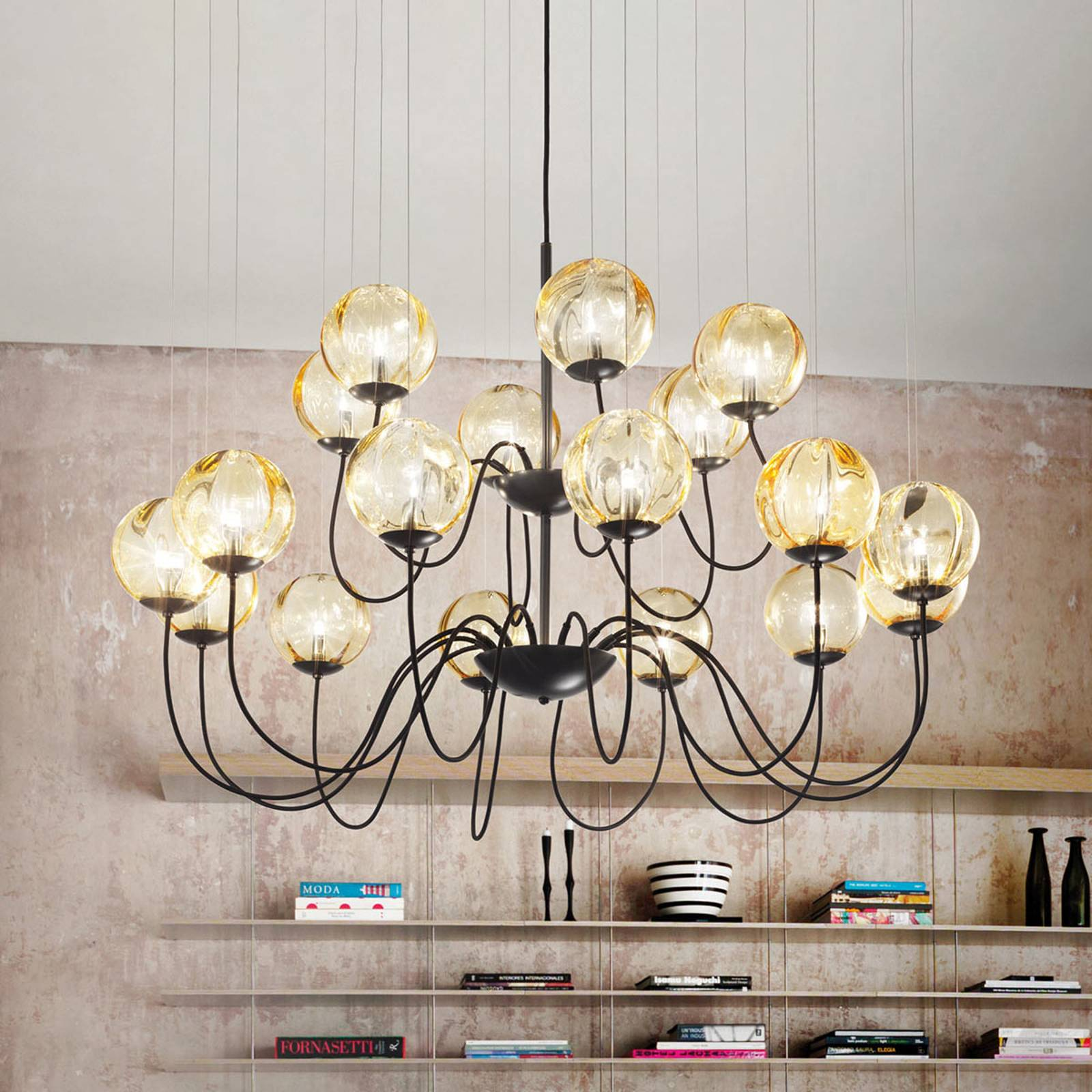 Puppet designer chandelier, Murano glass from Vistosi