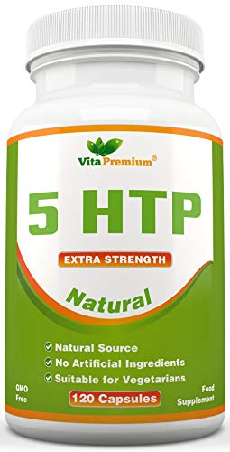 Natural 5-HTP 100mg, 120 Vegetarian Capsules, 4-Month Supply, GMO-Free, Extra Strength Melatonin Regulating Sleeping Aid by Vita Premium from Vita Premium
