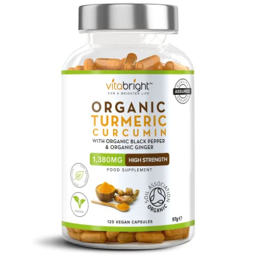 Organic Turmeric Curcumin 1380mg with Organic Black Pepper & Organic Ginger - High Potency - 120 Veg Capsules - Certified Organic, Non GMO, Vegan & Gluten Free from VitaBright