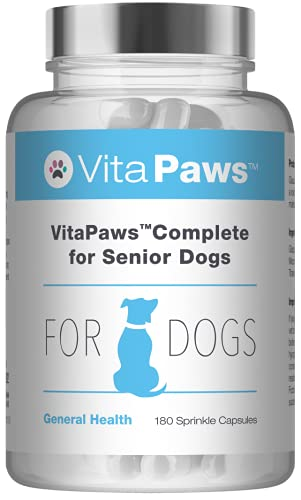 Multivitamins for Senior Dogs | VitaPaws Complete | Includes Glucosamine, Ginseng & L-Carnitine | 180 Sprinkle Capsules Ideal for Fussy Pets | UK Manufactured from SimplySupplements