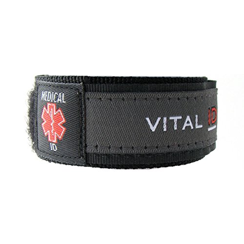 Medical Identity Bracelet. Adult & Child Medical ID Wristband by Vital ID. 100% Waterproof. Tearproof Insert Card. Store Emergency Contacts, Medications, Next of Kin. Smartphone NFC Option (Charcoal, Large) from Vital ID