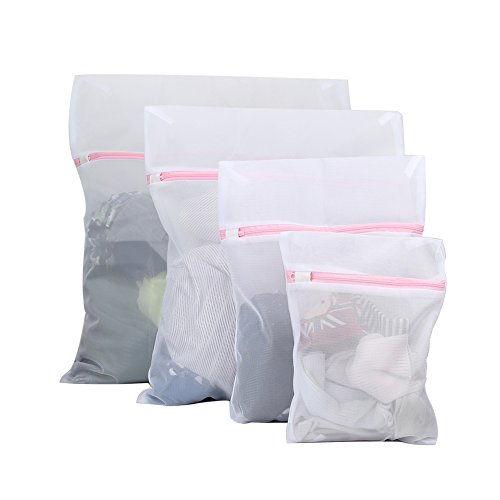 Vivifying Mesh Laundry Bags, Set of 4 Durable Washing Bags with Zip Closure for Clothes, Delicates from Vivifying