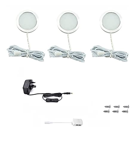 Vlio Under Cabinet Light Kit, Set of 3, LED Puck Lights, 7.5W, 750LM, Cool White, Display Cabinet Lighting, Disc Light for Kitchen, Closet, Counter, Cupboard, Shelf, Wardrobe and More from Vlio