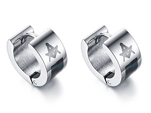 Vnox Men's Stainless Steel Free Mason Masonic Huggie Hoop Earrings Silver from Vnox