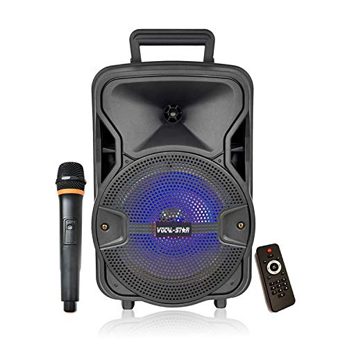 "Portable PA Speaker System, Bluetooth, MP3 USB, LED Light Effect, 100w 8"" Woofer & Wireless Microphone from Vocal-Star"