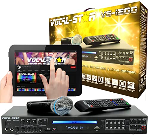 Vocal-Star VS-1200 CDG DVD HDMI Karaoke Machine With Bluetooth Including 2 Wired Microphones and 150 Top Party Songs... from Vocal-Star
