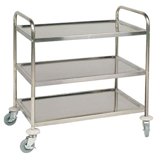Vogue 3 Tier Clearing Trolley Large 930X860X535mm Stainless Steel Catering from Vogue