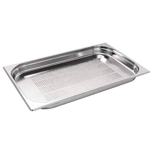 Vogue Stainless Steel Perforated 1/1 Gastronorm Pan 40mm Deep Food Container from Vogue