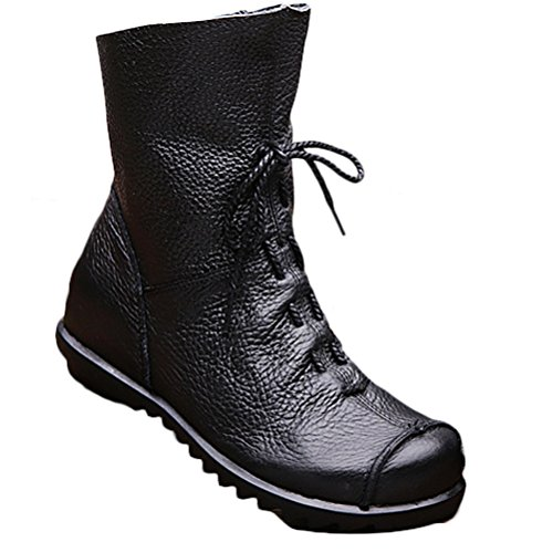 Voguees Women's Handmade Leather Inside Heighten Lace Up Boots Style 1 Black With Fleece UK5.5-6/EU38.5-39/CH40 from Voguees