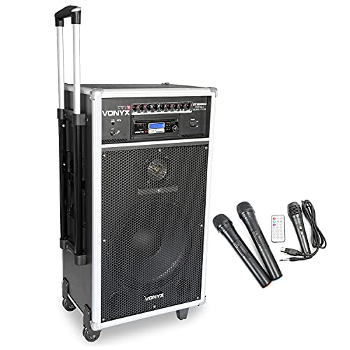 VONYX Battery Powered Portable PA Speaker System Bluetooth MP3 CD with Wireless Microphones from VONYX