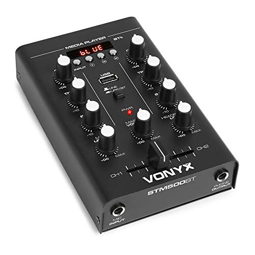 VONYX 2 Channel Desktop DJ Mixer with Bluetooth, Crossfader, USB Player with Mic Input from VONYX