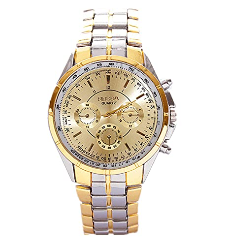Men Stainless Steel Band Quartz Fashion Wrist Watch-Gold from Mixe