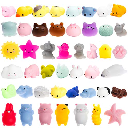 WATINC Random 40 Pcs Cute Animal Mochi Squishy, Kawaii Mini Soft Squeeze Toy,Fidget Hand Toy for Kids Gift,Stress Relief,Decoration, 40 Pack from WATINC