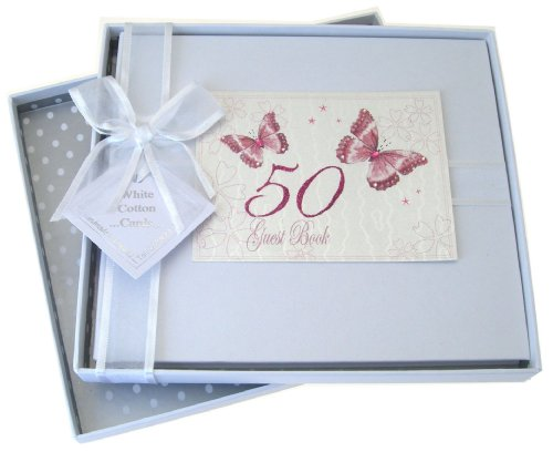 50th Birthday, Guest Book, Butterflies from WHITE COTTON CARDS