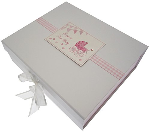 New Baby, Large Keepsake Box, Pink Pram & Bunting from WHITE COTTON CARDS