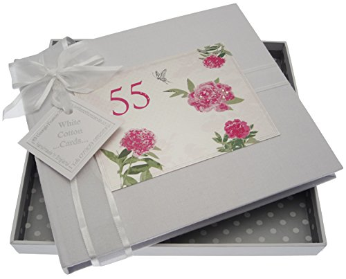 WHITE COTTON CARDS, 55th Birthday, Guest Book, English Roses from WHITE COTTON CARDS
