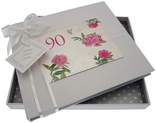 WHITE COTTON CARDS, 90th Birthday, Guest Book, English Roses from WHITE COTTON CARDS