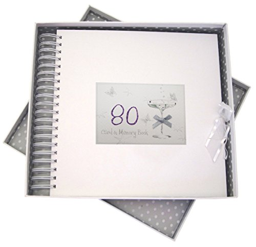 WHITE COTTON CARDS 80th Birthday, Card & Memory Book, Coupé Glass, Wood, 27x30x4 cm from WHITE COTTON CARDS