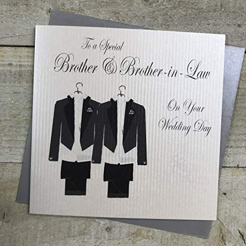 WHITE COTTON CARDS Suit to A Special Brother & Brother-in-Law Day Handmade Gay Wedding Card, PD209bro from WHITE COTTON CARDS